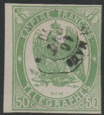 "FRANCE TIMBRE TELEGRAPHE N° 2 "" 50c VERT NON DENTELE 1868 "" OBLITERE A VOIR"