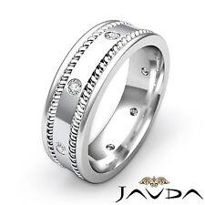 Mens Diamond Solid Ring Eternity Wedding Flat Braided Band 14k White Gold 0.20Ct
