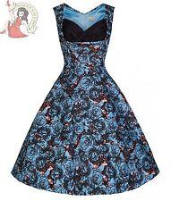 Lindy Bop Retro Vintage 50s Ophelia Blue Floral Cotton Swing Prom Dress Size 22