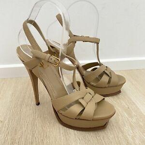 YSL Yves Saint Laurent Tribute Genuine Leather Beige Heels Women's Size 39 Shoes
