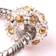Fashion 5pcs Silver CZ nest big hole Beads Fit European Charm Bracelet DIY #B96