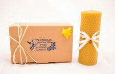 Hand-Rolled 100% natural beeswax candle with bee