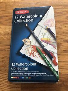 DERWENT Watercolour Collection Tin- 11 Pencils - Watercolour, Aquatone, Inktense