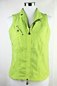 JAMIE SADOCK Women Sleeveless Golf Tennis Shirt Top Vest S Lime Green Full Zip