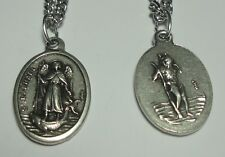 St Raphael & St Christopher Holy Medal on Chain - Travelers Nurses & Gardeners!