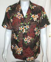 Vintage Hilo Hattie Hawaiian Shirt Aloha Mens Large Brown Leaf Made in USA 80s