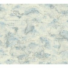York Wallcoverings NY4834 Nautical Living Coastal Map Wallpaper, Cream/Sky Blue/