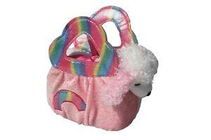 AURORA WORLD FANCY PALS POODLE IN A PINK RAINBOW BAG 20CM
