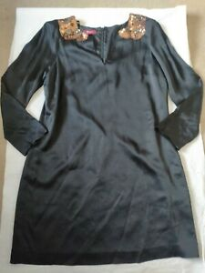 WOMENS MONSOON SIZE L UK 16 DRESS BLACK JEWELLED COLLAR V-NECK ZIP BACK