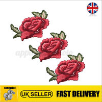 Rose Flower Patch Iron Sew On Embroidered Badge Clothes Embroidery Applique  .