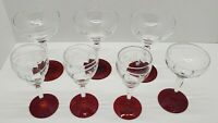 6 Antique Vtg Crystal Etched Floral Ruby Red Glass Base Wine Glasses Stemware