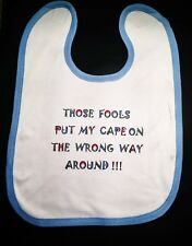 Personalised Baby Bib. White with blue edge. Baby Shower, Xmas or Bday gift.