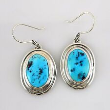 Handmade Unique Sterling Silver Kingman Turquoise Dangle Earrings Southwestern