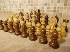 """3 1/8"""" REPRODUCTION ANTIQUE CHESS SET/PIECES,4 QUEENS,STAUNTON STYLE WOODEN"""