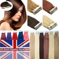 """Seamless Tape in Skin Weft Remy Human Hair Extensions 20Pcs/40Pcs 16""""-24"""" 7A UK"""