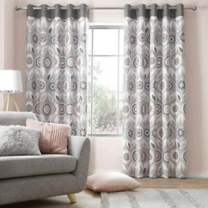House Additions Annika Eyelet Pair Curtain Floral Blush Pink Grey 168W x 137Drop