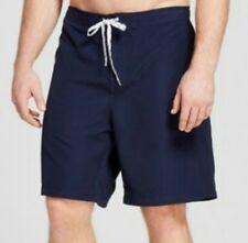 """Men""""s Merona Big & Tall Solid Swim Trunks At Knee Navy Blue Size 2XB (3170)"""