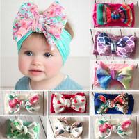 8Pcs Newborn Baby Turban Headwraps Big Bow Knot Girl Floral Cotton Wide Headband