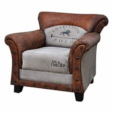VINTAGE/INDUSTRIAL GENUINE LEATHER POLO ARMCHAIR RECYCLED CANVAS/STUDS/HARDWOOD