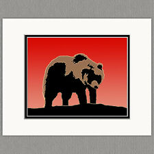 Grizzly Bear Sunset Colorful Graphics Original 8x10 Art Print Matted to 11x14