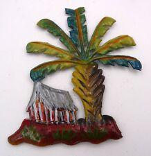 Magnet aimant case Africaine et arbre du voyageur en tôle recyclée Madagascar N3