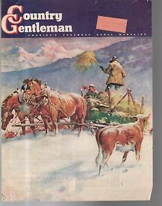 1942 Country Gentleman Cover - Bringing hay to the snowbound cattle in Colorado