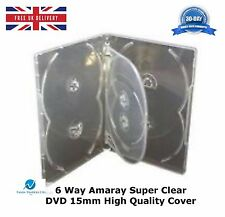 10 x 6 Way Amaray Clear 15mm DVD Holds 6Discs High Quality New replacement Cover