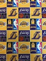 NBA LA Lakers Fabric - Polyester - By The Fat Quarter - FAST SHIP
