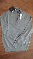 BROOKS BROTHERS Saxxon Wool Half Zipper Men's Sweater LIGHT GRAY / MEDIUM / $199