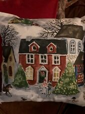 Pottery Barn Winter Village Pillow Cover Christmas Snow Town RARE Hard To Find