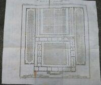 1790 GRECIA: BELLISSIMA PIANTA DI UNA PALESTRA GRECA SECONDO VITRUVIO