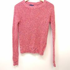 New American Eagle Womens Coral Pink Lightweight Mixed Knit Crew Sweater Small