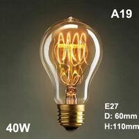 E27 40W  Retro Edison Filament Bulb Dimmable Flame 220V Light Lamp A19