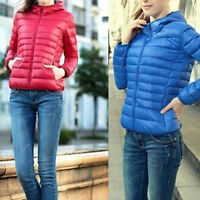 Women Autumn Winter Warm Slim Quilted Ultralight Hooded Short Jacket Coat Parka