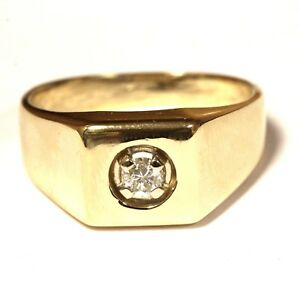 14k yellow gold .25ct SI1 diamond solitaire mens ring 7.7g gents estate vintage
