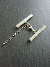 4 sets Silver Plated Crimp Ends for 40mm Ribbon with Lobster Clasps & Extender