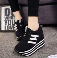 Womens Sport Sneakers Wedge Hidden Heel Platform Creepers Casual Shoes Zipper