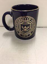Vintage University of Michigan Blue Gold Trim Mug Cup Michigan Business School