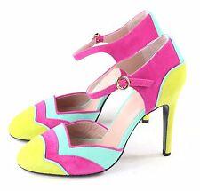 Boutique Moschino Womens Clarissa MJ Pump Purple Aqua Yellow Size 37 EU 7 M US