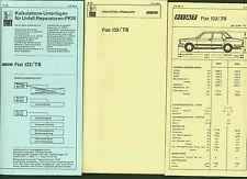 FIAT 132/78 DAT Unterlagen Reparaturen Ersatzteil Ausstattung Preisliste 1979/80