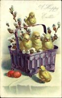 Tuck Easter ~ chicks pussywillow eggs purple basket~1908 to ANDREW SCHINK