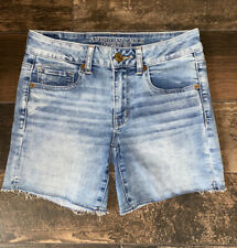 American Eagle Super Stretch Midi Cut Off Womens Size 6 Denim Jean Shorts