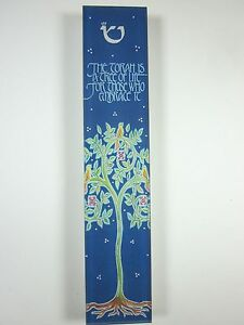 "Large Mezuzah Acrylic TREE OF LIFE w NON Kosher Scroll 6"""