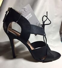 NWT 100% Genuine Leather Black Lace Up High Heels Sexy Shoes H&M 8 M / 39