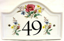 Country Garden House Door Number Plaque Flowers Ceramic House Sign Any Number