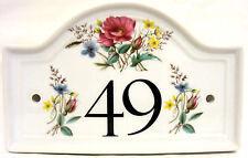 Paese Giardino Casa Porta Numero Placca Fiori in Ceramica Casa Segno QUALSIASI NUMERO