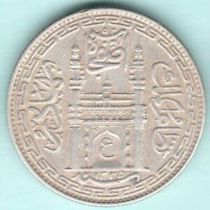 HYDERABAD STATE MIR MAHBUB ALI KHAN AH 1335 SILVER RUPEE RARE COIN