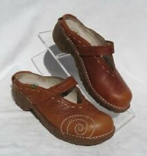 EL NATURALISTA Brown Leather Embroidered Yggdrasil Mules Clogs Shoes sz 37 US 7