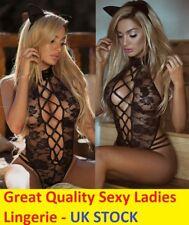 LES FEMMES Sissy Sexy Lingerie Dentelle Babydoll G String Nightwear sous-vêtements Noir