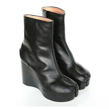 MAISON MARTIN MARGIELA split toe black leather platform wedge tabi boots 40 NEW